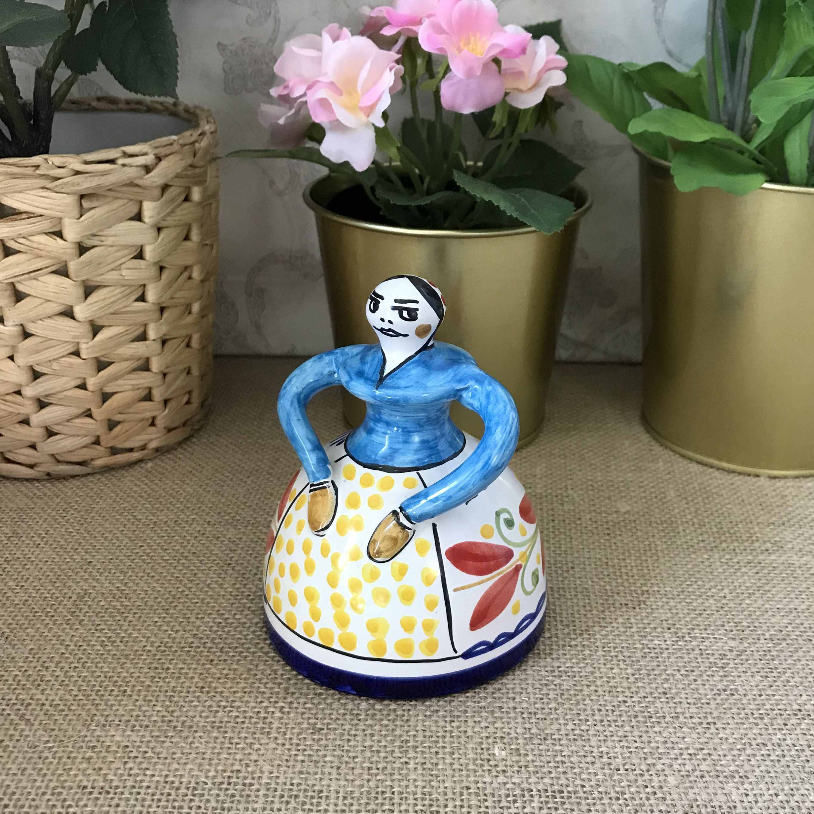 Sevilla Pottery Bell, Ceramic Lady Bell, Lady Figurine Bell, Vintage Souvenir Bell, Hand Painted Woman Bell, Sevilla Bell, Collectible Bell #preguntassevilla