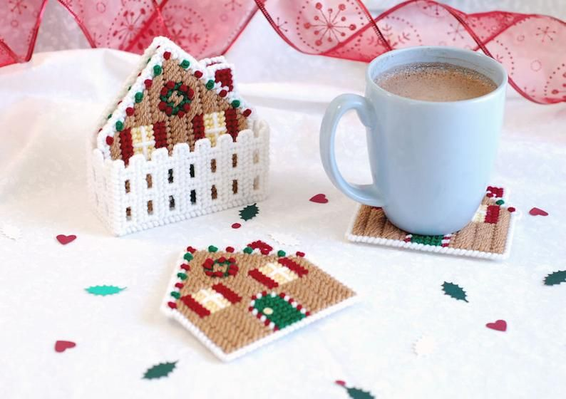 PATTERN: Gingerbread Coasters in Plastic Canvas   Etsy