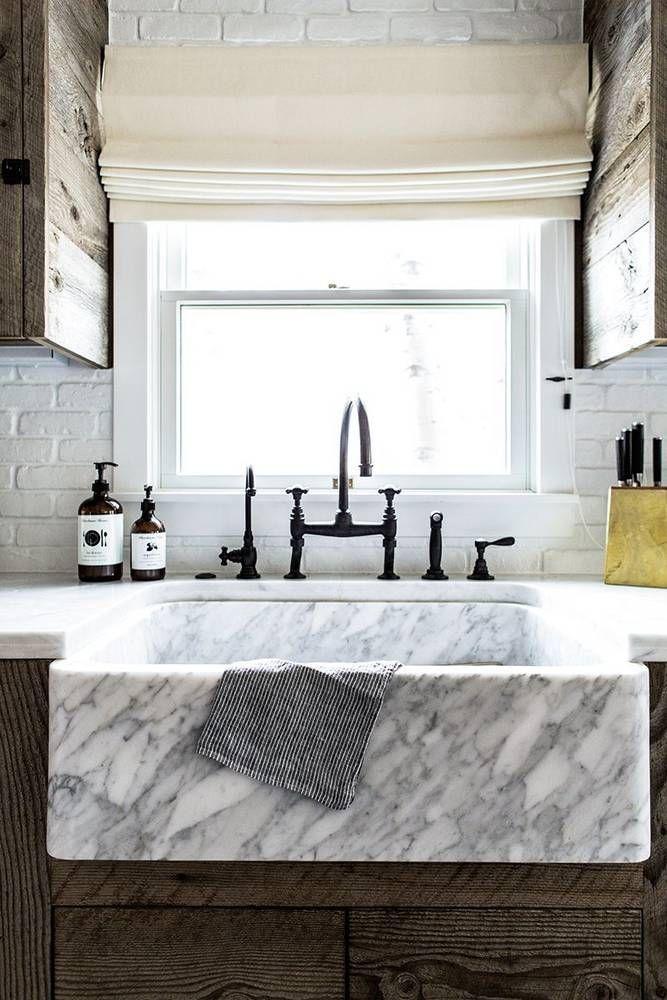 Charming Marble Farmhouse Sink.