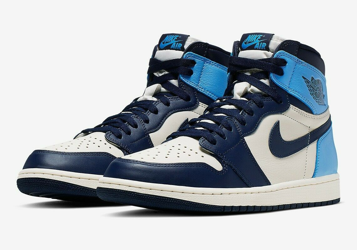 Air Jordan 1 Obsidian Unc Blue Retro High Og 555088 140 New Ready To Ship Air Jordans Air Jordans Retro Blue Basketball Shoes