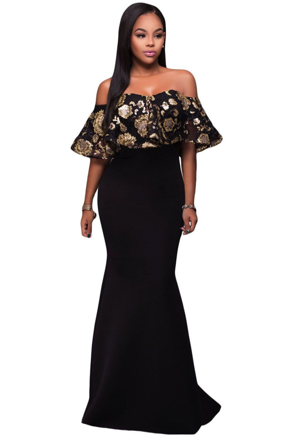 Black gold sequins ruffle strapless long dress products