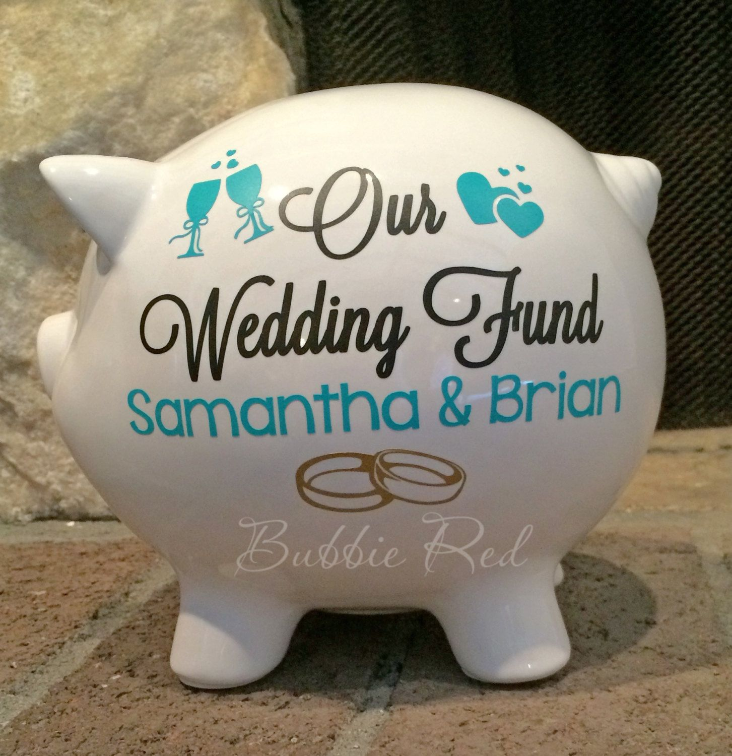 personalized wedding fund piggy bank engagement gift ring party