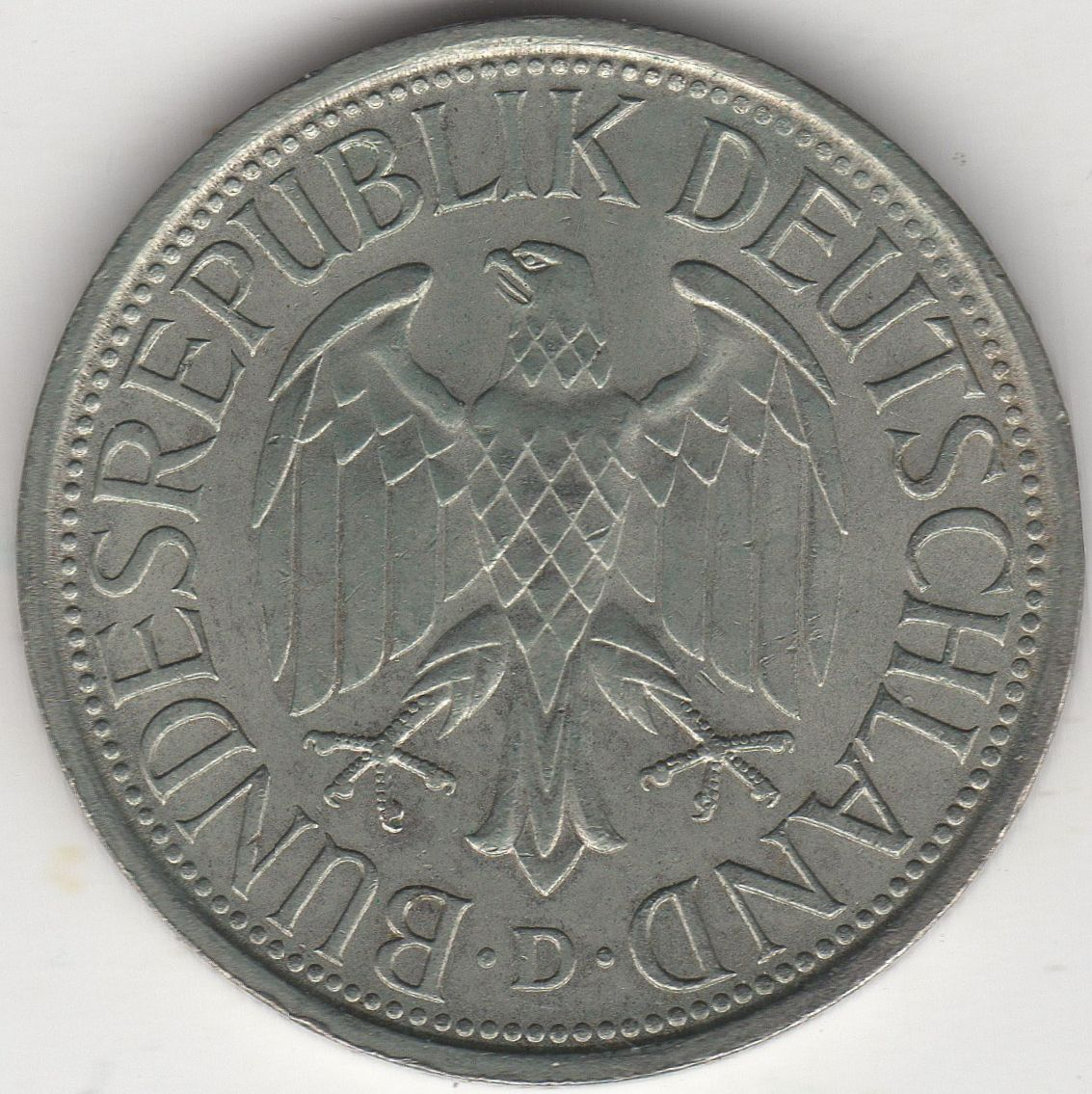 1978 D Germany 1 Deutsche Mark Coin European Coins