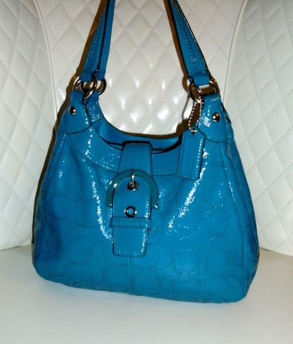 52abe561c12a I m auctioning  2 COACH Soho Turquoise Patent Leather Perforated C Print Hobo  Bag   on  tophatter