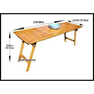 Mesa madera tablon jardin patas plegables quincho 2 x 70 - Patas plegables para mesas ...