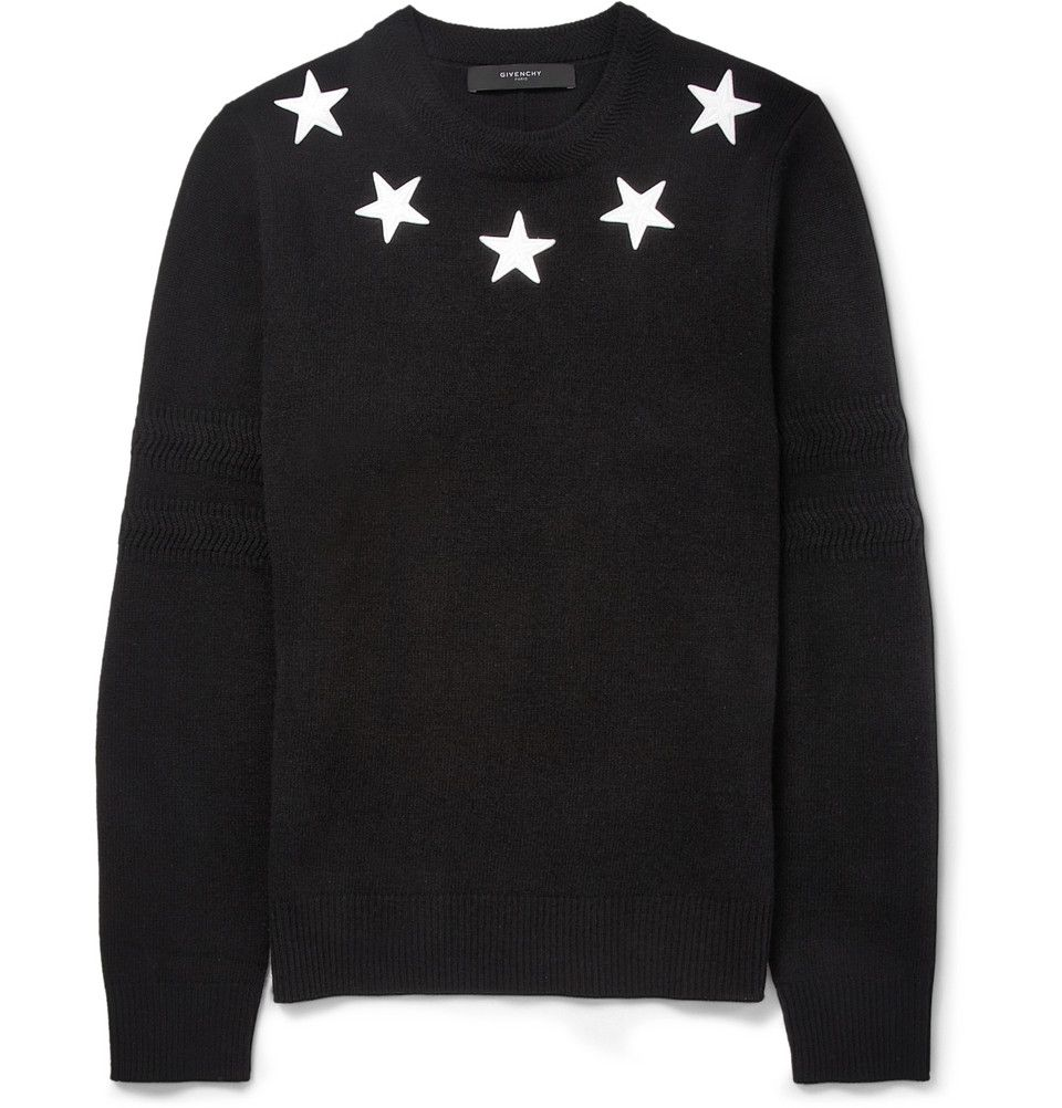 b04052a1d Givenchy - Star-Trim Striped Wool Sweater | MR PORTER | Men's ...