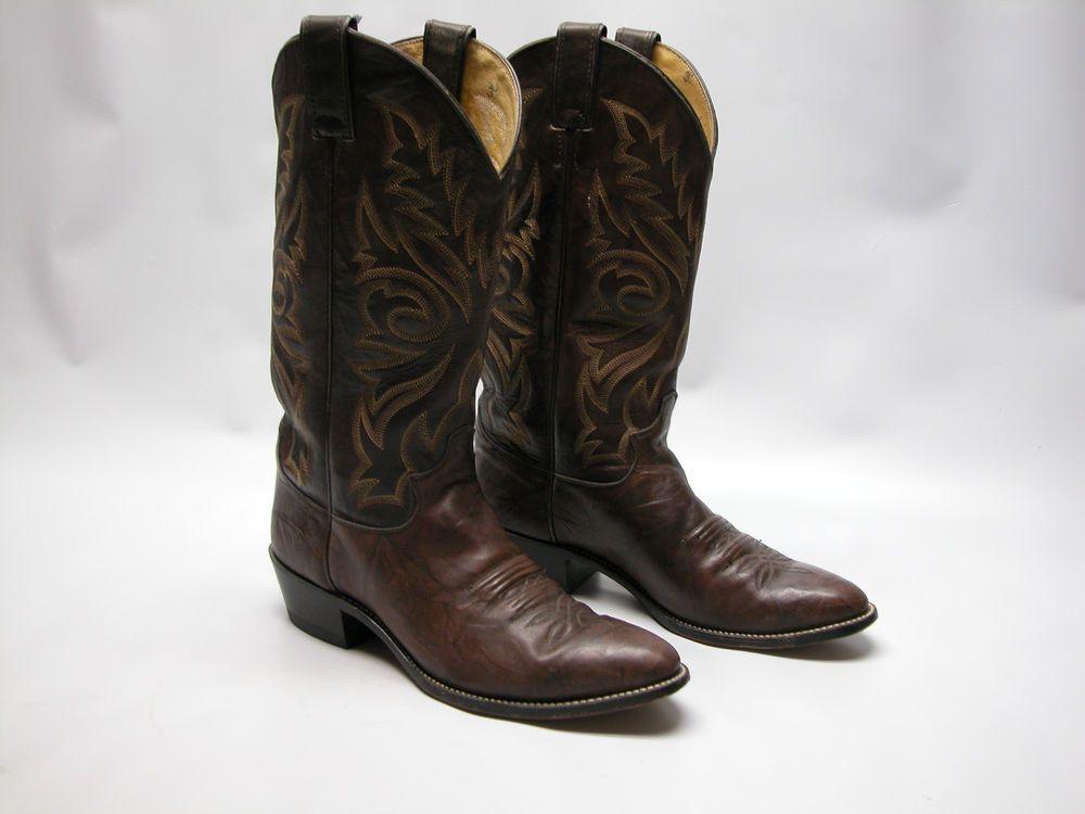 7ae8a39db59 Justin 1564 Marbled Deerlite Mens Western Cowboy Boots 8 1/2 D Brown ...
