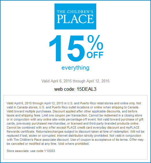 15 Off Everything At The Childrens Place Or Online Via Promo Code 15deal3 Coupon Apps Coding App
