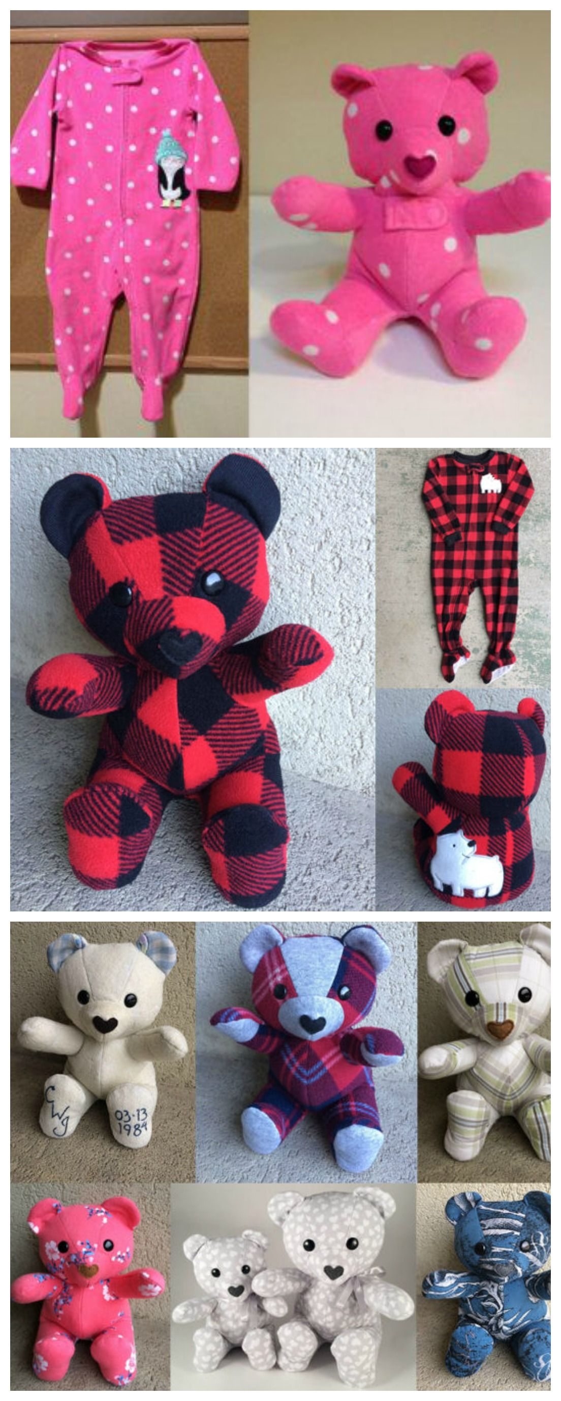 DIY Keepsake Memory Teddy Bear from Baby Clothes   Pinterest   Nähen ...
