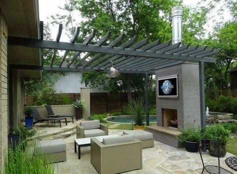 Kamin Für Terrasse terrasse mit kamin und outdoor fernseher garten