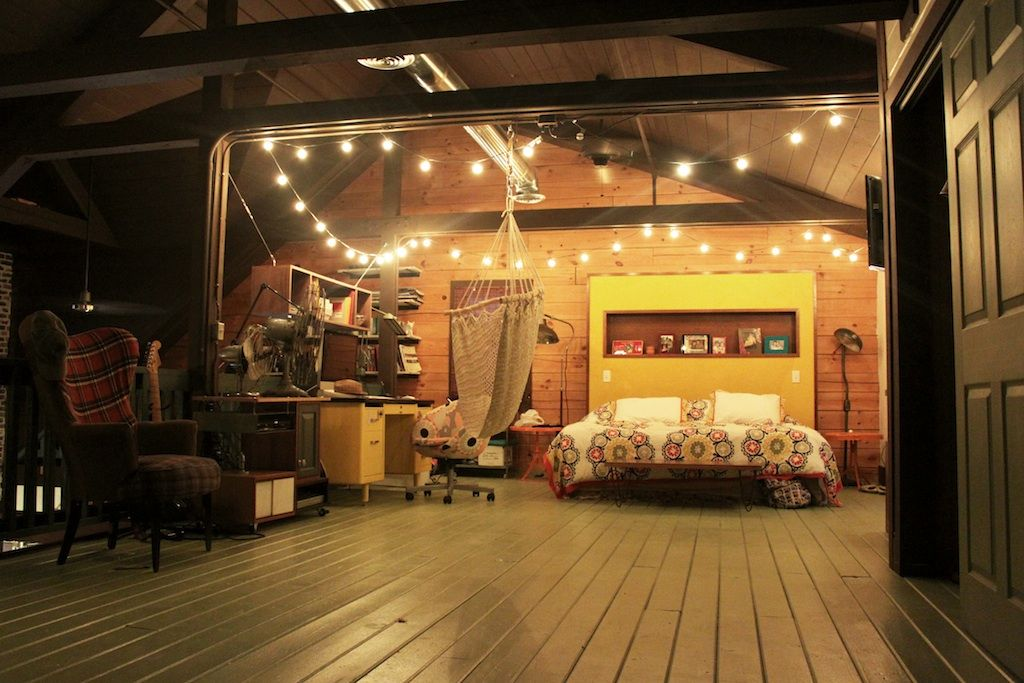 Exposed Beams, Bright Color Against Wood, String Light Baubles, Swing  Chair... Lose The Floral Print And Weu0027re Done!