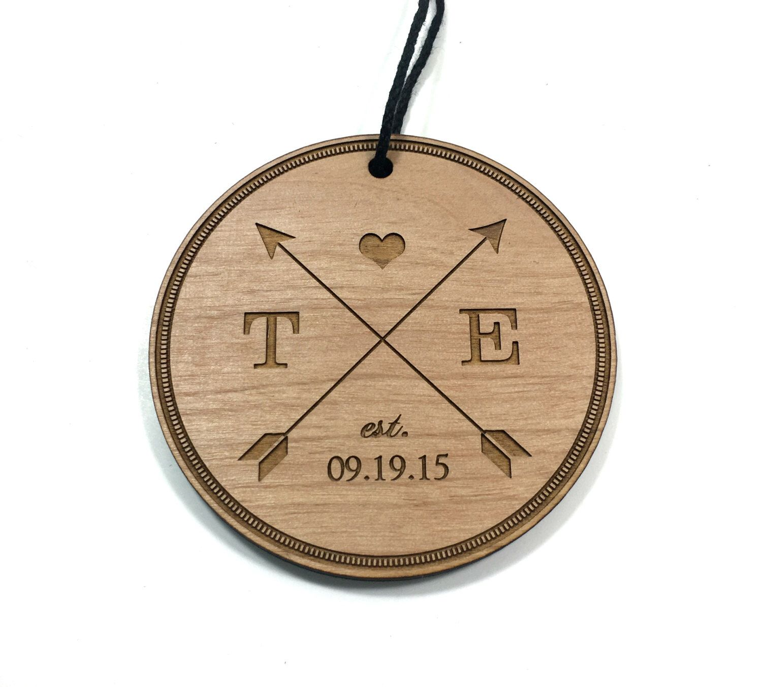 Newlywed ornament - Wedding Christmas Ornament Custom Engraved Personalized Newlywed Couple Arrow Design