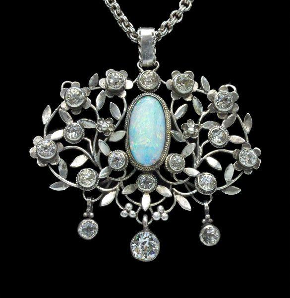 Art Nouveau Pendentif Argent, Cristal et Opale Arthur