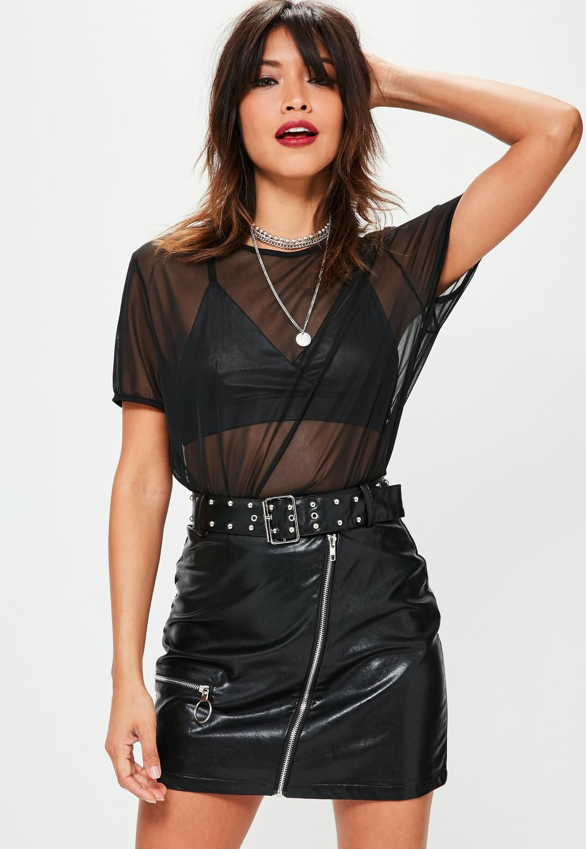 a2617cf92 Missguided - Petite Premium Black Faux Leather Studded Skirt ...