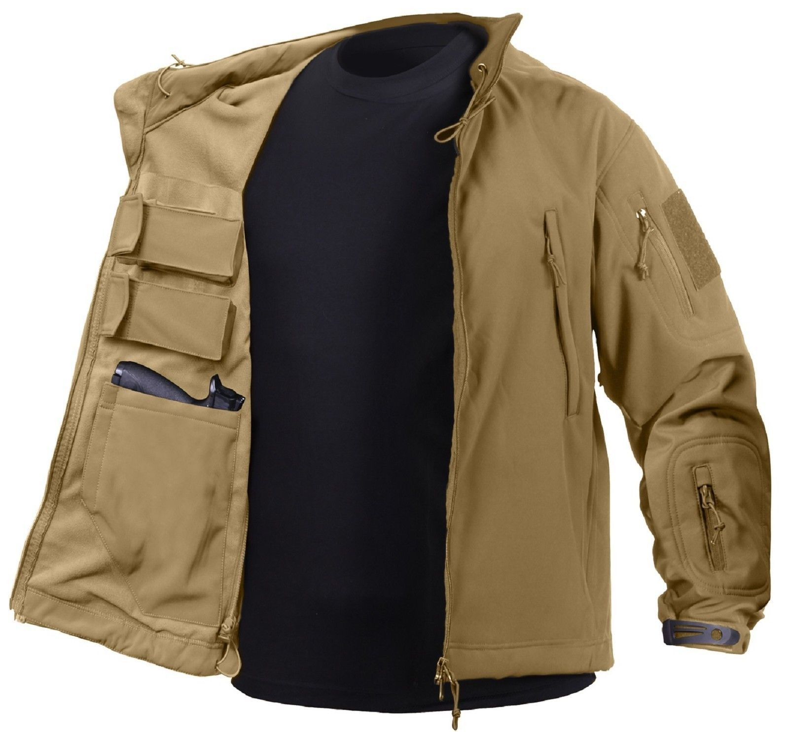 Mens Concealed Carry Soft Shell Tactical Jacket 2 Flag Patches Rothco Ccw Coat Tactical Jacket Soft Shell Jacket Tactical Clothing [ 1485 x 1600 Pixel ]
