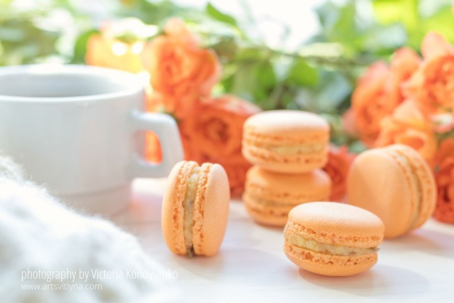 Orange macaroons, cup of coffee and fresh roses by Victoria Kondysenko - Photo 206109591 / 500px