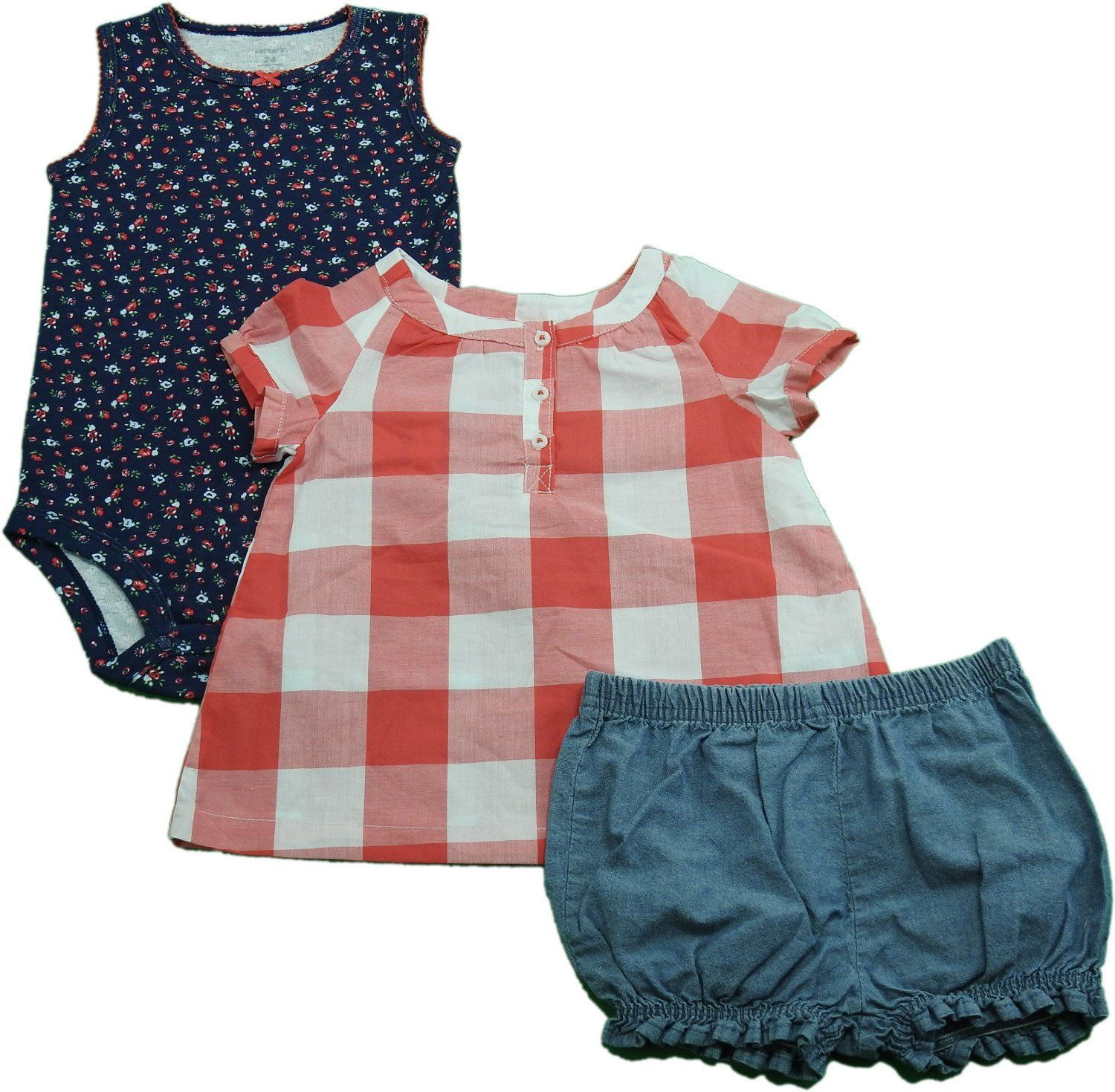 Shirt design for baby girl - Carters Baby Girls 3 Piece Shirt Bloomers And Bodysuit Red Blue