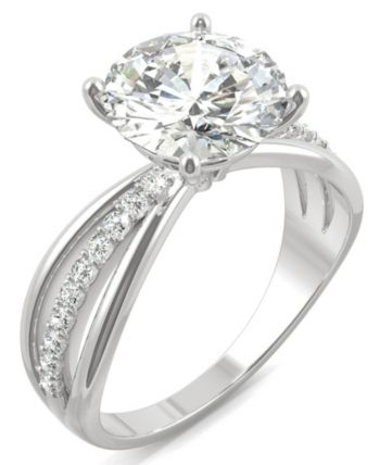 Charles Colvard Moissanite Round Solitaire With Sides Ring 2 9 10 Ct Tw Diamond Equivalent In 14k White Gold White Gold Jewelry White Gold Rings