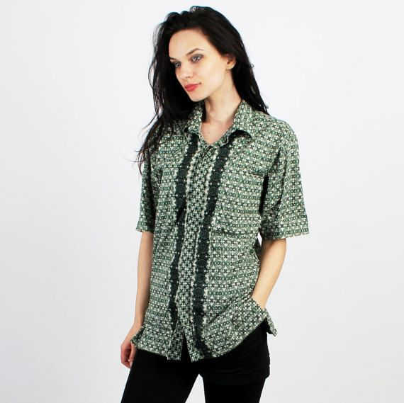 Vintage Green Cotton Patterned Oriental Short Sleeve Men Shirt  by Ramaci