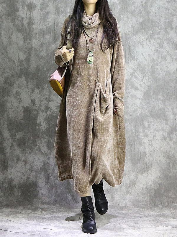Lose Vintage Split-Joint With-Taschen langes Kleid   – Women's fashion