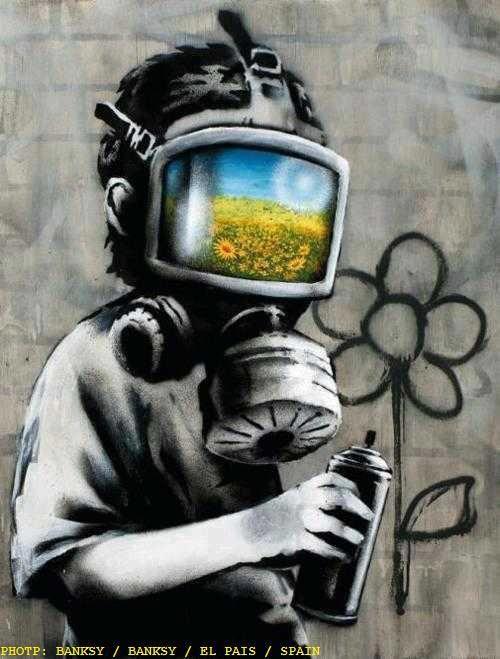Read the full title Banksy canvas Gas Mask Boy Street Art Grafitti print