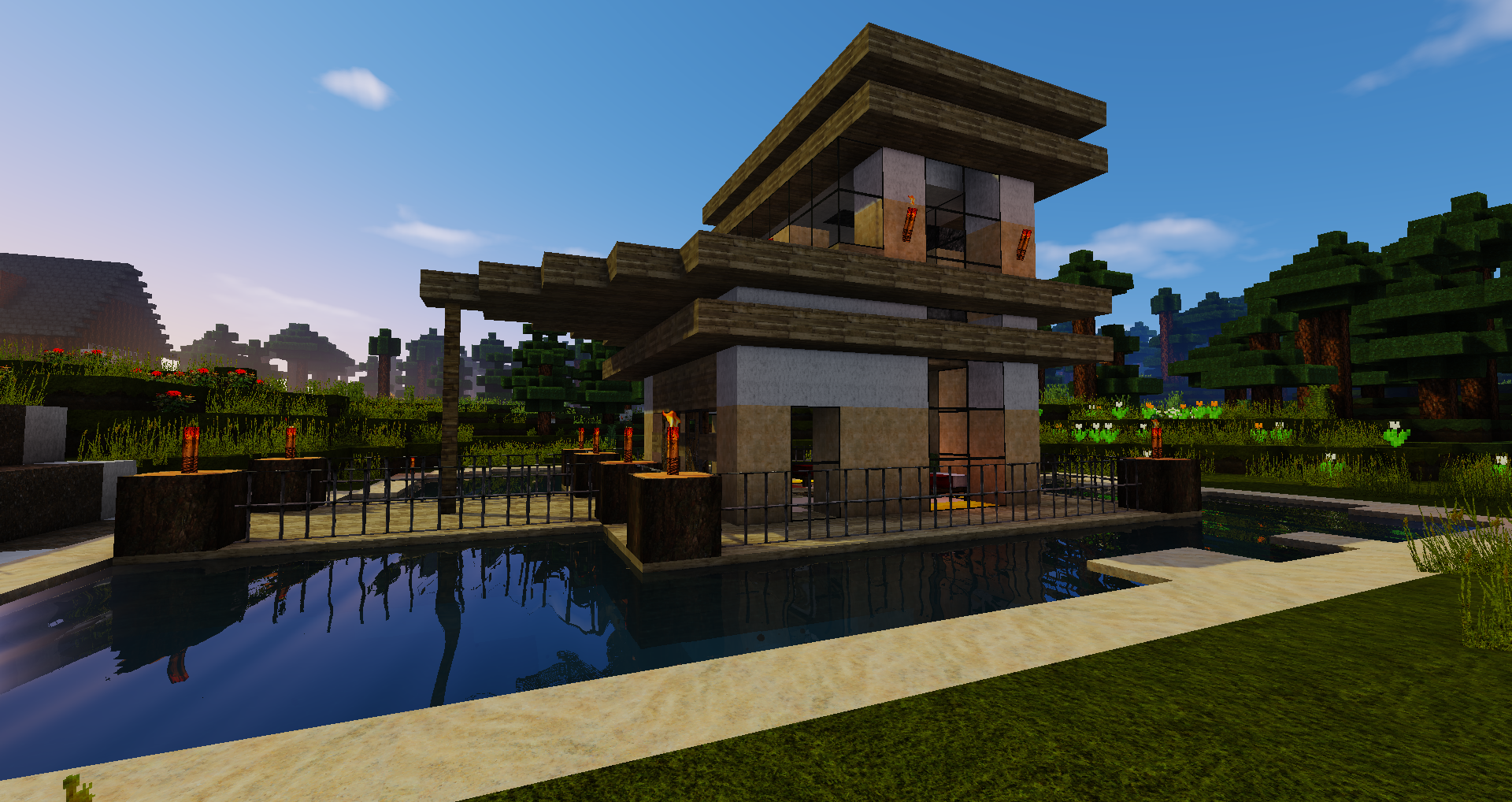 Minecraft Boat House w/shaders My own creation  Minecraft designs