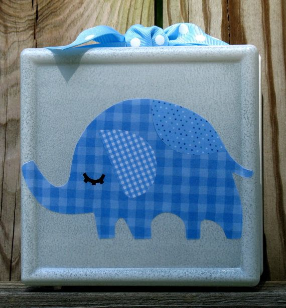 Blue Elephant  glass block night light. $30.00, via Etsy.