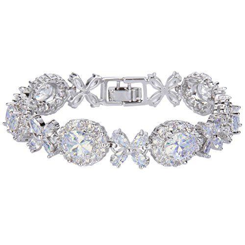 EVER FAITH Silver-Tone CZ Elegant Floral Leaves Water Drop Bride Tennis Bracelet