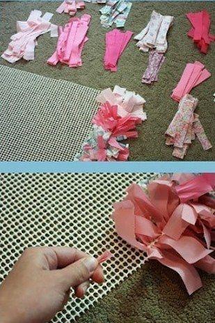 Haz una alfombra nica con retazos de tela retazos de - Telas para alfombras ...