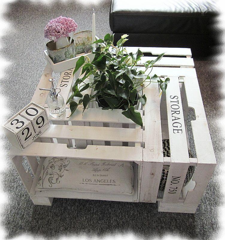 shabby chic unser neuer wohnzimmertisch aus 4 weinkisten und holzf en schnell und einfach. Black Bedroom Furniture Sets. Home Design Ideas