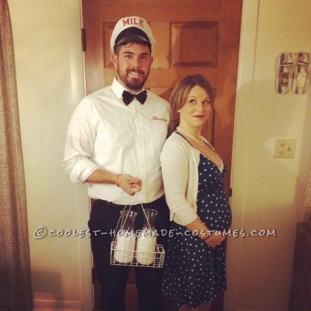 easy and funny milkman and pregnant housewife couple costume - Pregnant Halloween Couples Costumes