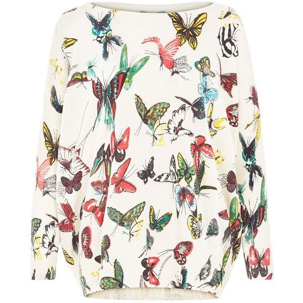 Mela Cream Butterfly Print Jumper (71 BGN) ❤ liked on Polyvore featuring tops, sweaters, cream, butterfly print top, jumpers sweaters, cream top, butterfly top and cream long sleeve top