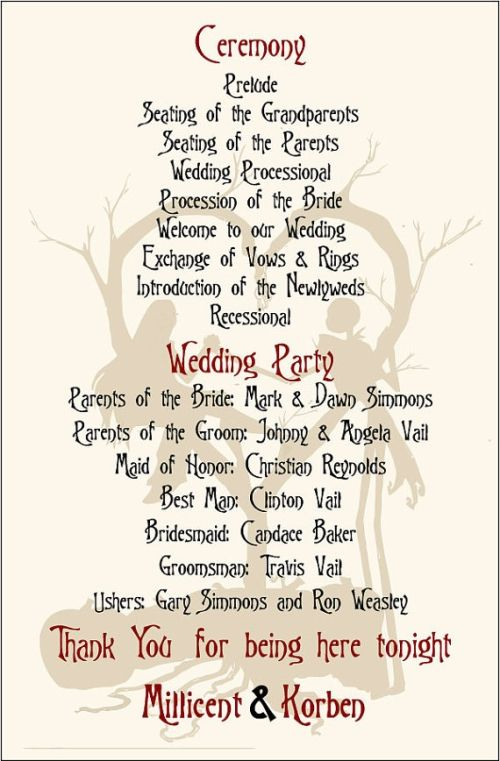 vintage nightmare before christmas wedding programs | wedding, Wedding invitations