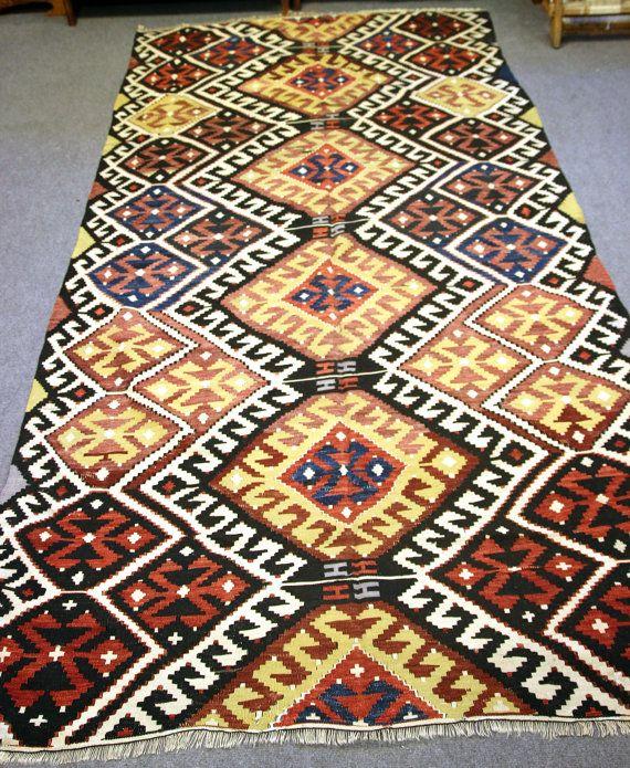 FREE SHIPPING  1940s  Antalya Kilim Rug Carpet by OkcuCarpet