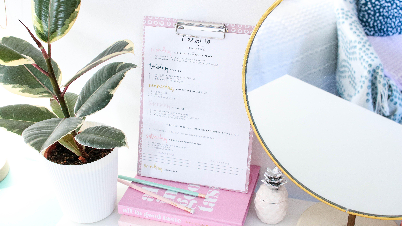 7 Days To Get Organised Free Worksheet Printable