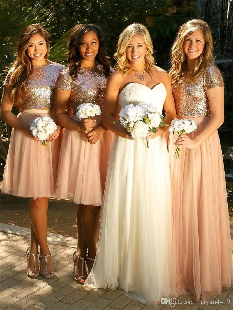2017 Blush Pink Bridesmaid Dresses Two Pieces Sequined Tulle Short Floor Length  Wedding Guest Wear Party Dress Plus Size Maid of Honor Gowns 704c53709430