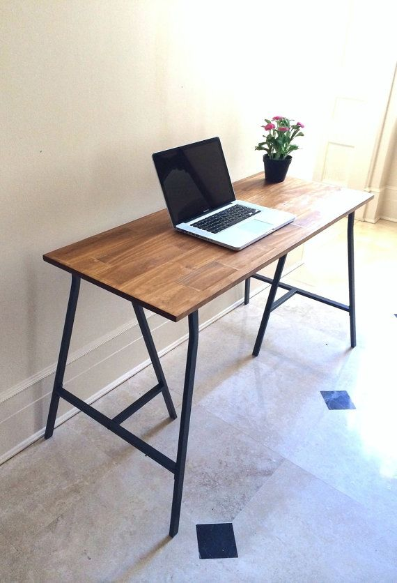 This Wood Desk Or Rustic Table On Gray Steel Ikea Legs Which Are Included At Cost Is Made To Order In Brooklyn Nyc The Tabletop Of