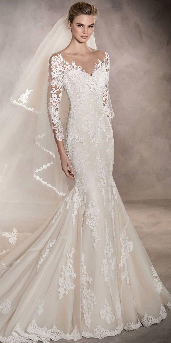 Pronovias 2017 Wedding Dresses | Mermaid wedding dresses, Floral ...