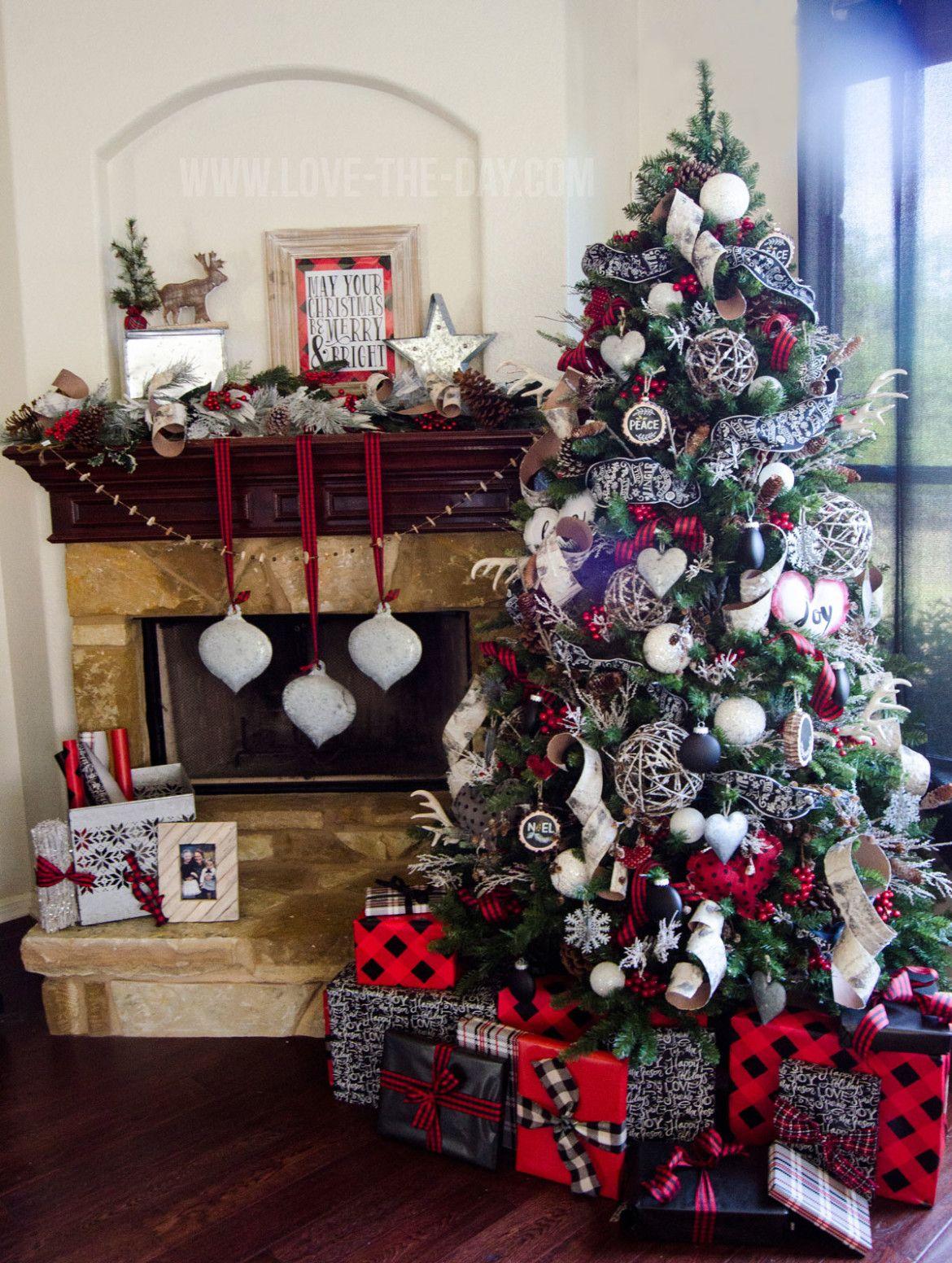 Lumberjack Christmas Tree By Love The Day Michael S Dream Tree Challenge 2015 Rustic Christmas Tree Plaid Christmas Tree Flocked Christmas Trees
