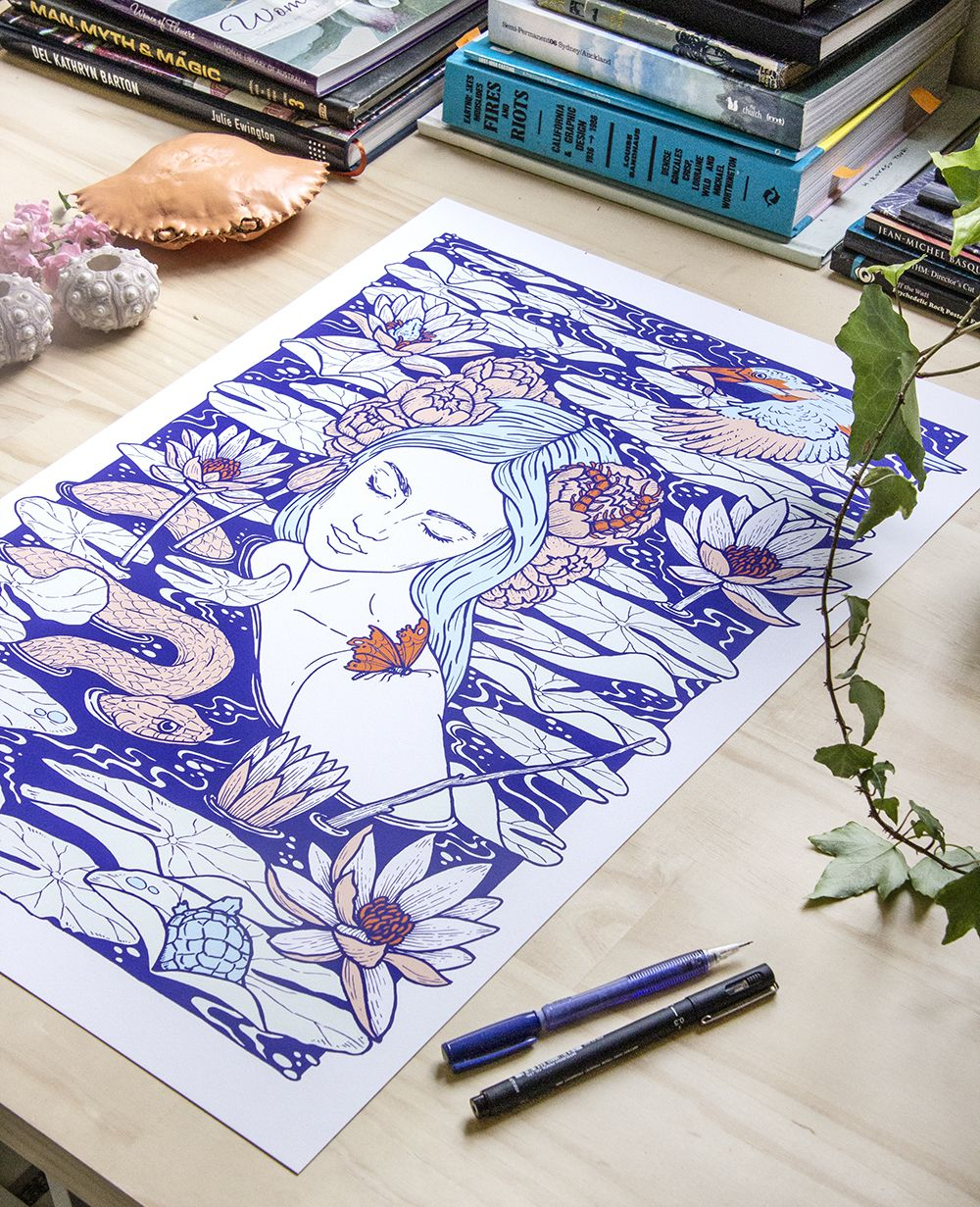 Wade Artwork Print In Raychponygold Studio Illustration Drawing Art Woman Feminine Water River Snake Ophel Art Sketchbook Sketch Book Art Drawings