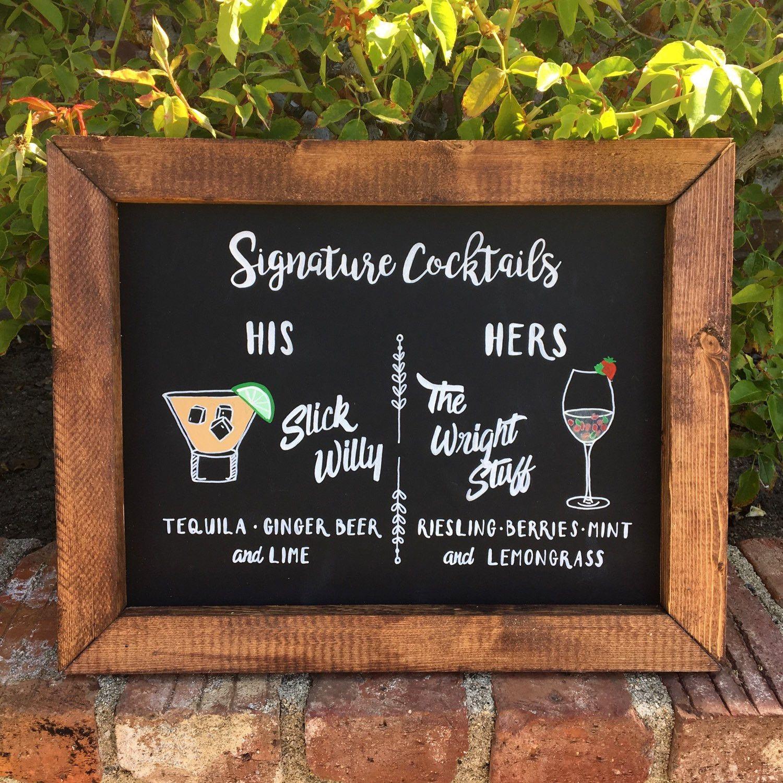 Signature Drinks - Rustic Wedding Framed Chalkboard Sign Signature ...
