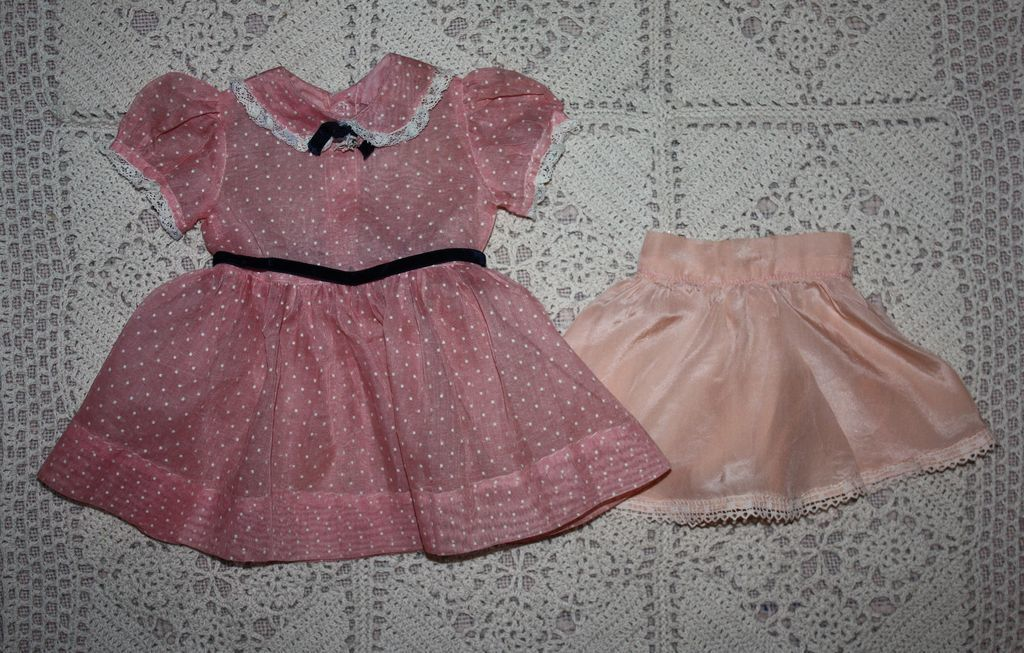 Pink Dotted Organdy Dress and Slip Hard Plastic Dolls 1950s from camelot-pc-rl on Ruby Lane