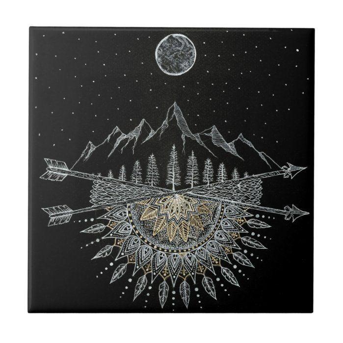 Moon and Stars Night Sky Mountain Range Mandala Ceramic Tile | diy