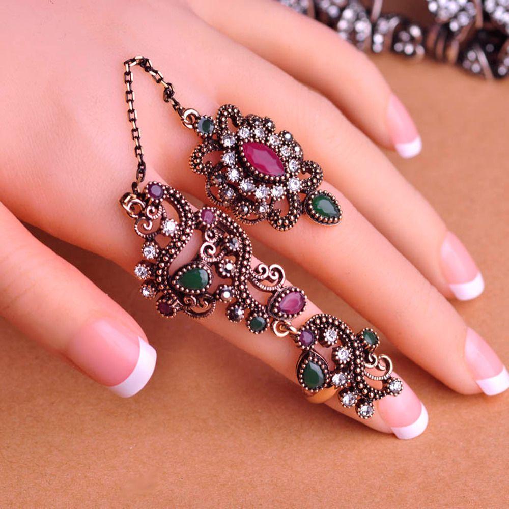 K&N Women Turkish Colorful Two Finger Ring Jewellery Islamic Vintage ...