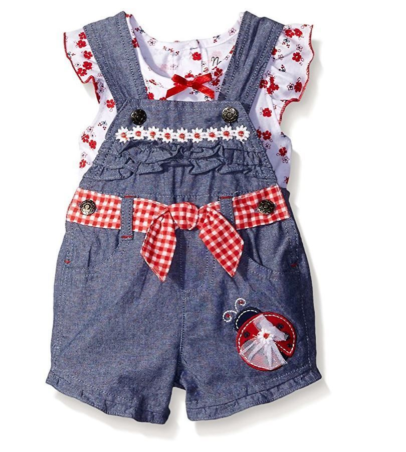 Nannette Girls Toddler 2 Piece Denim Shortall with Floral Applique and Printed Top with Flutter Sleeves