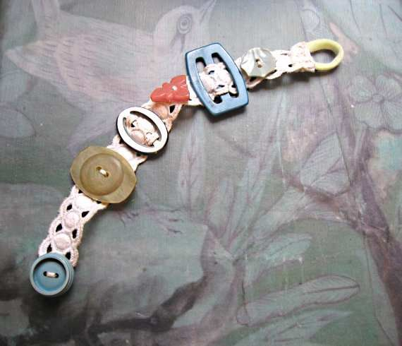 Antique Button & Buckle Bracelet, Bakelite, Old Lace, Teal Blue, Green, Pink, Mother of Pearl, Pretty
