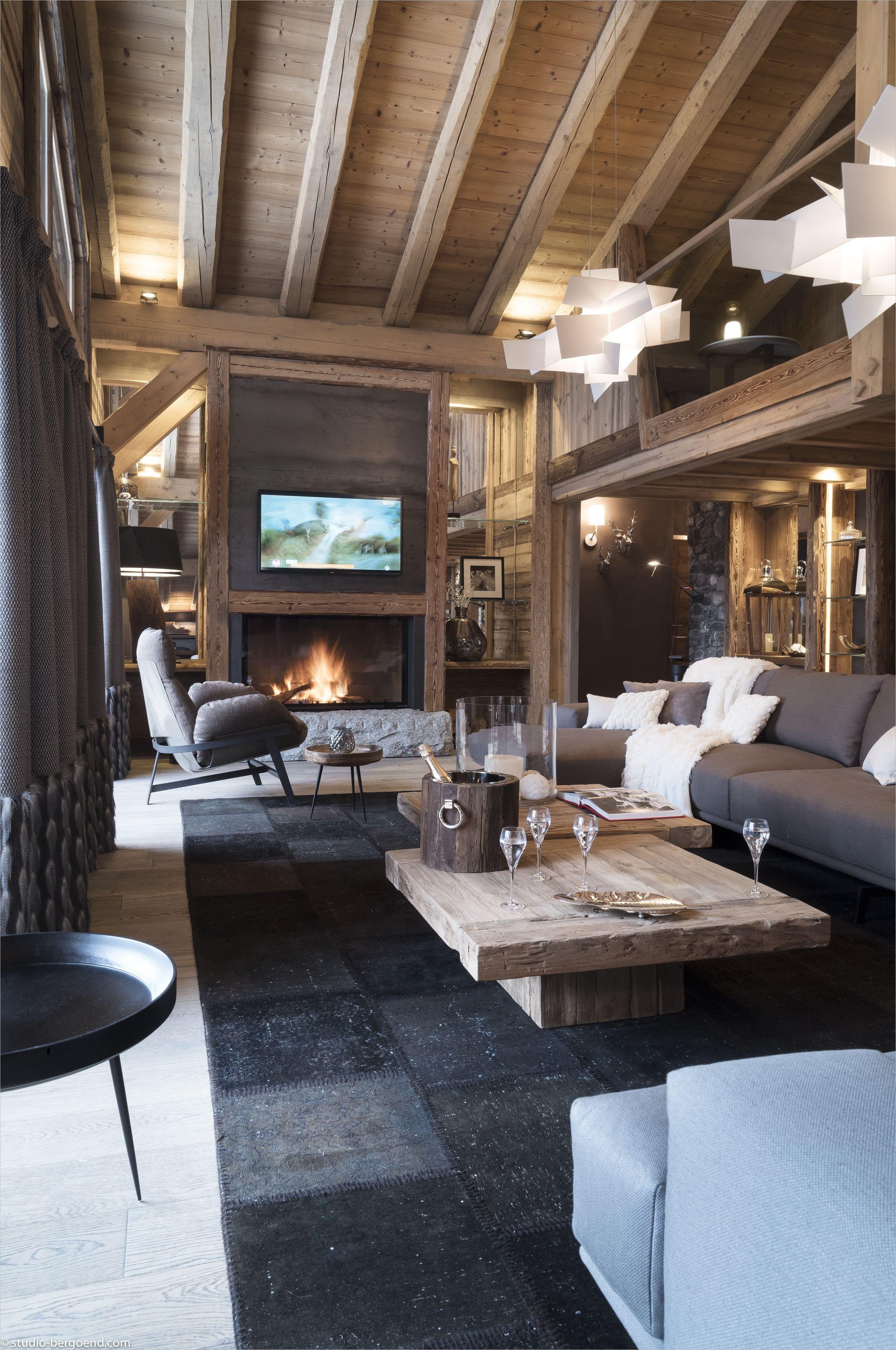 Deco Salon Inspiration Chalet Bois Et Moderne  Décoration