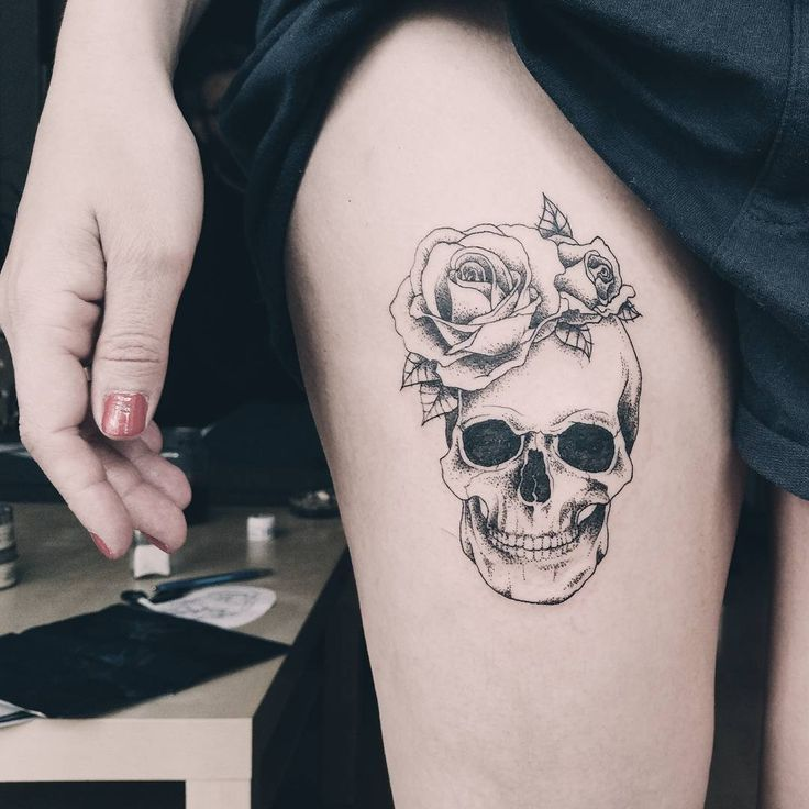 Photo of beautiful #and #delicate #dot #work #skull #tattoo, #all #black, #on #a #girl's #leg, #made #…