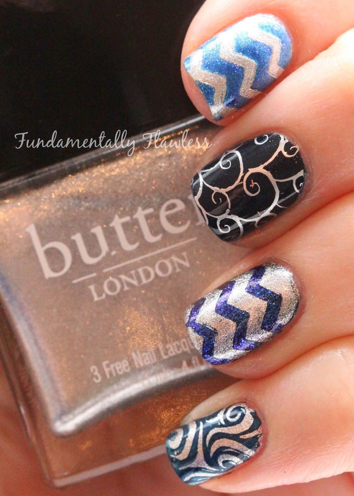 Fundamentally Flawless: Navy Blue and Silver Nail Art with Butter ...
