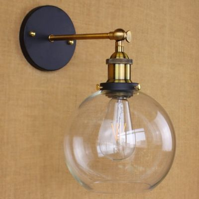 Industrial Glass Globe Wall Sconce In Antique Brass With Clear Glass For Bedside Foyer Hallway Wall Lights Wall Lamp Metal Wall Light Glass globe wall sconce